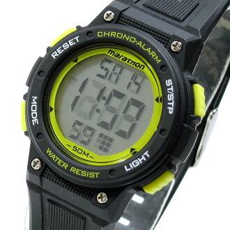 Timex(Timex)TW5K84900 Mid-Size Marathon/中间尺寸马拉松数码橡胶皮带黑色×黄色人表手表