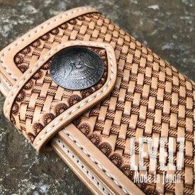 財布 ミドルウォレット ナチュラル 手縫い ライダース/バイカーズウォレット レザーカービング バスケットスタンプ トスカーナ地方でなめされたイタリアンレザー使用 ヌメ革/本革財布 ハンドメイド 日本製 MW001B1-B LEVEL7