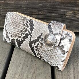 長財布/ハンドメイドロングウォレット 日本なめし ダイヤモンドパイソン マットナチュラル本革 手縫い イタリア製 生成り ヌメ革 レザーウォレット バイカーズウォレット KLW002-PY 日本製 LEVEL7