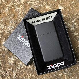 【メール便送料無料】【並行輸入品】 ZIPPO ジッポー Black Matte Slim Size オイルライター スリムサイズ マットブラック 1618