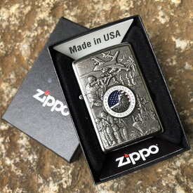 【メール便送料無料】【並行輸入品】 ZIPPO ジッポー Joined Forces Emblem オイルライター レギュラーサイズ ストリートクローム シルバー 24457