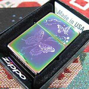 【並行輸入品】 ZIPPO ジッポー スペクトラム 蝶 オイルライター レギュラーサイズ PVD加工 レインボー 28442