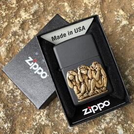 【並行輸入品】 ZIPPO ジッポー 三猿 見ざる聞かざる言わざる オイルライター レギュラーサイズ マットブラック 29409 【あす楽対応】