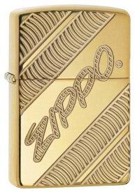 【並行輸入品】 ZIPPO ジッポー ロゴ オイルライター レギュラーサイズ ポリッシュ ゴールド 29625
