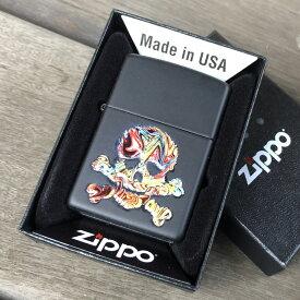 【並行輸入品】 ZIPPO ジッポー マットブラック テクスチャープリント スカル 49187 USA直輸入 レギュラーサイズ ブラス 真鍮