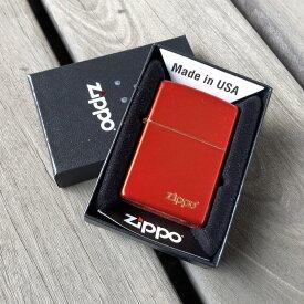 【並行輸入品】 ZIPPO ジッポー メタリックレッド 49475ZL ZIPPOロゴ USA/アメリカ直輸入 レギュラーサイズ ブラス 真鍮