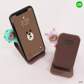 置いて充電 LINE FRIENDS急速充電対応 ワイヤレス充電スタンド ジャングルブラウンiPhone android LINE FRIENDS公式ライセンス商品KCL-SPT001 10P 8809490821834