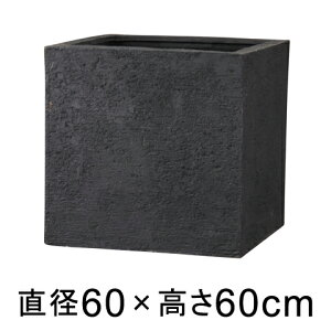 植木鉢 おしゃれ 大型 リガンデ キューブ 60cm ブラック 【メーカー直送・同梱不可・代引不可・返品不可】【グリーンポット社】