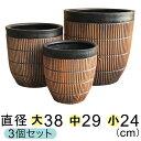 【大中小セットでお買い得】 縦すじ模様付 丸深型 植木鉢 黒茶系 〔大中小3個セット〕 [of20]