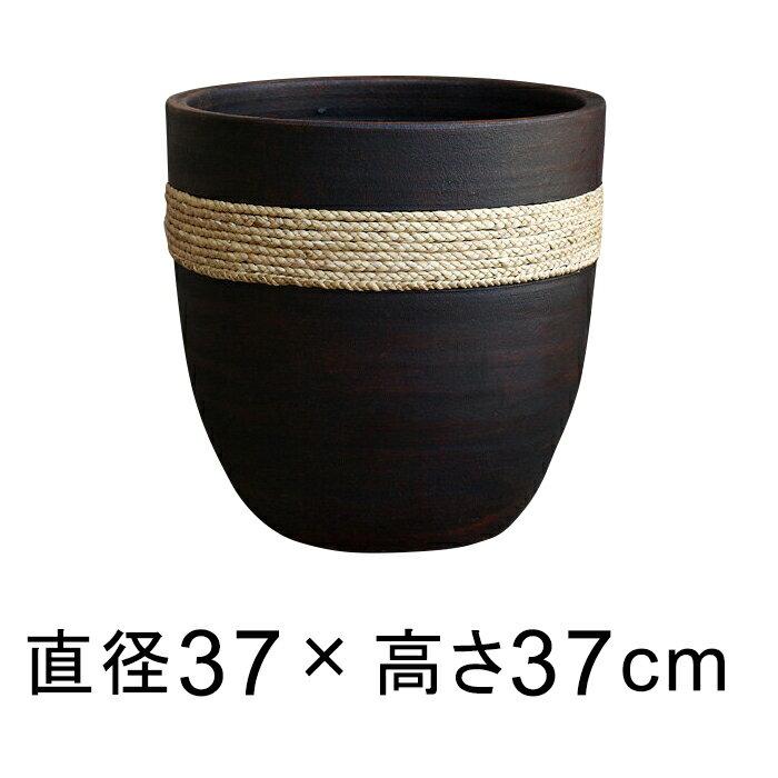 ロープ付 丸 深型 こげ茶 おしゃれ 植木鉢 L 37cm 28リットル