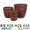 【訳あり】【送料無料】横じま丸深型 ツートン茶色系 テラコッタ 鉢 大中小3個セット おしゃれ 植木鉢 大型 お洒落 色濃い目の場合もあります