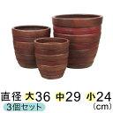 【大中小セットで30%OFF】 植木鉢 大型 おしゃれ テラコッタ鉢 横じま丸深型 ツートン茶色系 〔大中小3個セット〕 色濃い目の場合もあります 【送料無料】