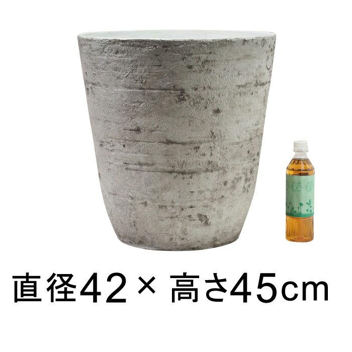 軽量・合成樹脂製ポット 丸型 42cm 39リットル ライトグレー系 植木鉢 大型 おしゃれ 10号鉢適合 鉢カバー