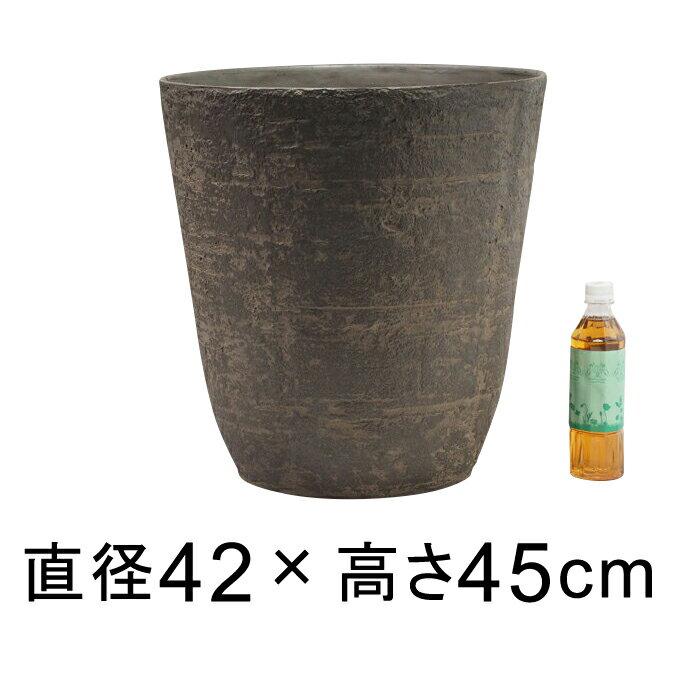 軽量・合成樹脂製ポット 丸型 42cm 39リットル ウッドブラウン系 植木鉢 大型 おしゃれ 10号鉢適合 鉢カバー