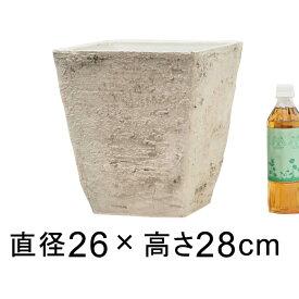 軽量・合成樹脂製ポット 角型 スクエア 26cm 10リットル アイボリー系 植木鉢 おしゃれ 鉢カバー