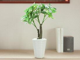 造花 観葉植物 フェイク グリーン 光触媒 パキラ H36cm 〔陶器鉢ホワイト〕