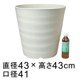 【楽天ランキング受賞】フレグラーポット 43cm アイボリー 40リットル 植木鉢 大型 おしゃれ シンプル プラスチック 大型 鉢カバーにも使用可能 ◆室内使用には大きすぎることもありますのでサイズをよくご確認下さい◆