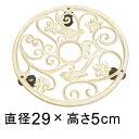 【アイアン製】 キャスター付アイアンプレート アンティークホワイト ラウンド 29.5cm