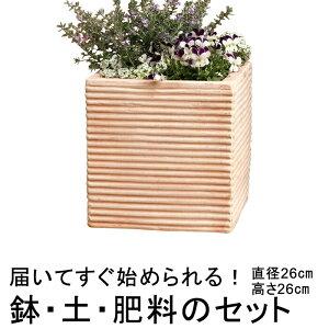 おしゃれ 植木鉢 土・肥料のセット 横縞 キューブ型 素焼き鉢 テラコッタ 鉢 小 26cmと培養土と鉢底石と鉢底ネットと肥料のセット