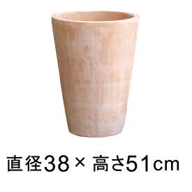 シンプル丸深型 素焼き鉢 テラコッタ鉢 おしゃれ 植木鉢 大型 38cm 34リットル 送料無料