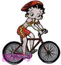ベティー(ベティ) ブープ betty boop刺繍ワッペン サテン アップリケ自転車 サイクリング大きめです!