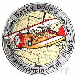 ベティー(ベティ)ブープbettyboop刺繍ワッペンサテンアップリケラウンドプロペラ機transatlanticflight大西洋横断飛行