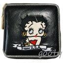 ベティー(ベティ)ブープ BETTY BOOP二つ折り財布 財布 ベティーブープ 合皮製 黒×シルバー刺繍 パッチラウンドチャックタイプ