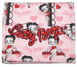 I embroider an entering embroidery pink logo on Betty (Betty) ブープ BETTY BOOP three fold wallet wallet whole pattern cloth