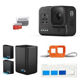 【GoPro公式】GoPro HERO8 Black + デュアルバッテリーチャージャー+バッテリー + スリーブ+ランヤード + 認定SDカード + ステッカー ゴープロ [国内正規品]