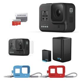 GoPro HERO8 Black +デュアルバッテリーチャージャー+バッテリー +プロテクトスクリーン +スリーブランヤード + 認定SDカード 国内正規品