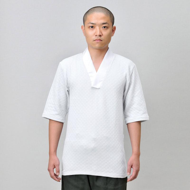 綿キルトTシャツ半襦袢(M-LL)【作務衣や和装のインナーとして!秋冬用の和装肌着(下着)男性用】