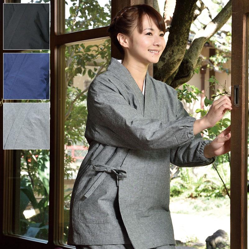 キルト作務衣【冬用 作務衣(さむえ)】女性用(黒・紺・グレー)(M-LL)〔日本製〕【送料無料】