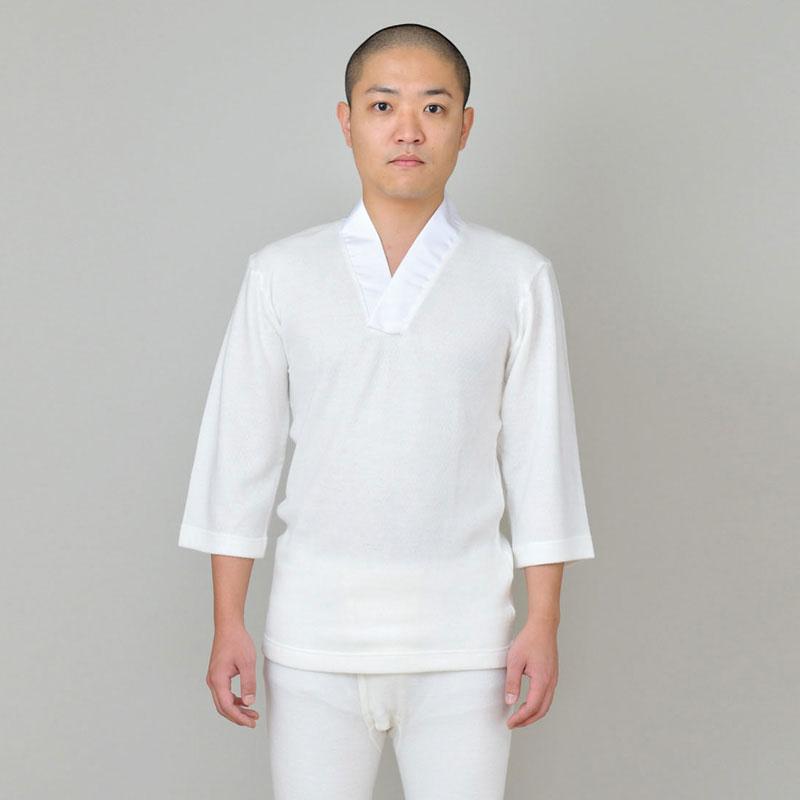 【カシミヤ入りTシャツ半襦袢】冬用・上のみ・男性用(M-LL)作務衣や和装のインナーとして!秋冬用の和装肌着(下着)