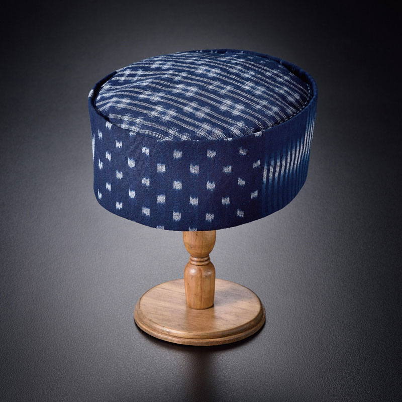 備後絣藍染「6種の絣」利休帽