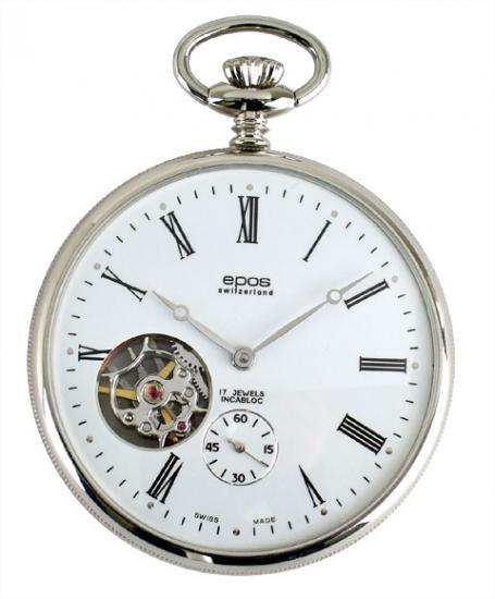 エポス メンズ 懐中時計 2090 手巻き Unitas6497 シースルー epos スケルトン