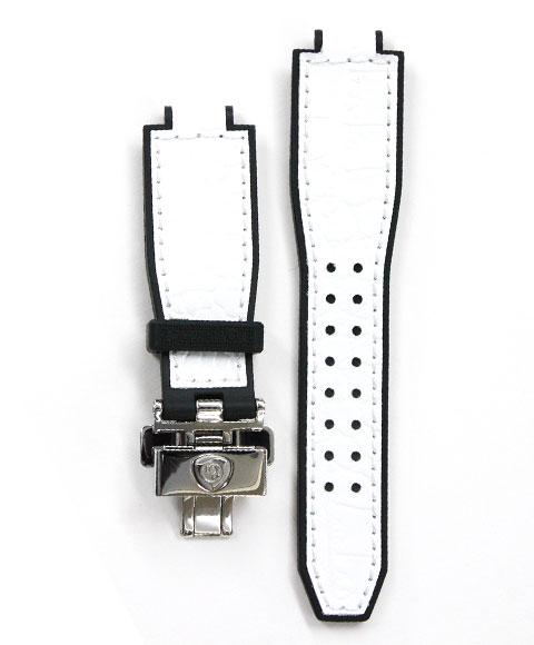 アクアノウティック 純正 キングクーダ・トノー用 カーフベルト KCSJ03 白 (革・ラバー/シルバーバックル) 腕時計 AQUANAUTIC King Cuda TONNEAU