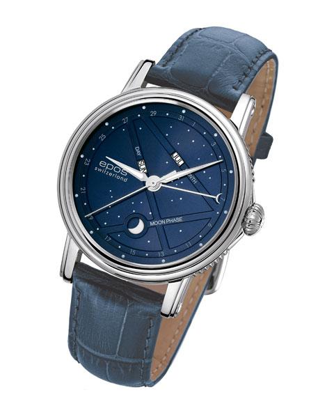 エポス ナイトスカイ 3391BL (ネイビーベルト) 紺 青 ブルー 革ベルト 腕時計 メンズ 自動巻 epos EMOTION レザーストラップ
