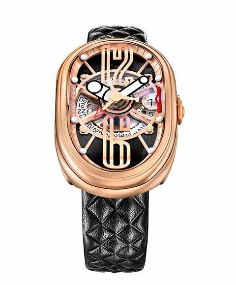 グリモルディ G.T.O. RGMTBK612PK 腕時計 メンズ GRIMOLDI Gran Tipo Ovale 自動巻 ゴールド レザーストラップ