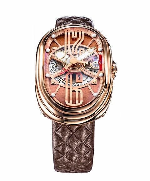 グリモルディ G.T.O. RGSHBR612PK 腕時計 メンズ GRIMOLDI Gran Tipo Ovale 自動巻 ゴールド レザーストラップ