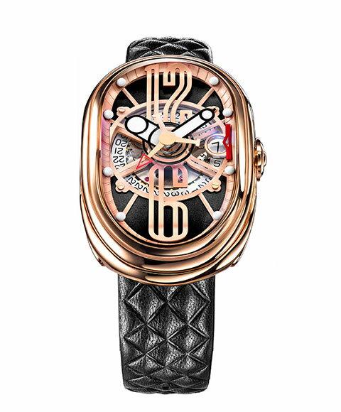 グリモルディ G.T.O. RGSHBK612PK 腕時計 メンズ GRIMOLDI Gran Tipo Ovale 自動巻 ゴールド レザーストラップ