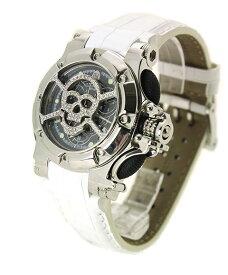 アウトレット 半額 アクアノウティック バラクーダ クロノグラフ B0202MSKLC03 腕時計 ダイヤスカルマスク メンズ ユニセックス AQUANAUTIC Bara Cuda 革ベルト