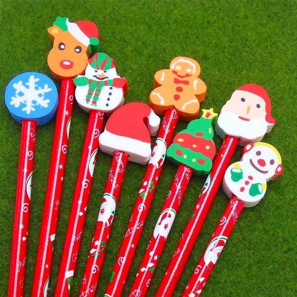スノーキッズ けしごむ付えんぴつ 24個入【クリスマス おもちゃ 文具 文房具 鉛筆】