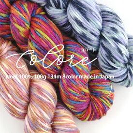 【1265】Colore(コローレ)[毛100%(内メリノウール85%) 極太 100gカセ巻(約134m) 全8色]毛糸ピエロ♪毛糸 編み物 手編み 手芸
