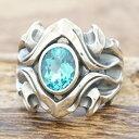 エムズコレクション(M's collection)ブルートパーズ リングメンズ レディースシルバー 925 指輪 透かし彫り 石 大きめ…
