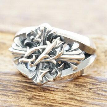 エムズコレクション(M's collection)イバラ クロス リング メンズ 指輪 シルバー925XR-014【送料無料】