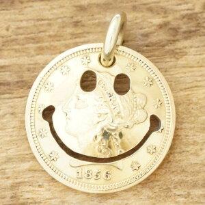 NORTH WORKS(ノースワークス)ゴールド ネックレス メンズ2.5$ リバティーヘッド コイン 金貨 21.6K 18K 18金スマイル ニコちゃんヴィンテージコイン アンティークインディアンジュエリー ナバホ族G-