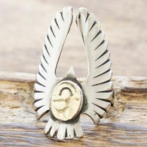 【あす楽】イーグル リング メンズシルバー 925 指輪 コイン ゴールド K10インディアン ネイティブ アメカジ サーフ バイカーハンドメイド ジュエリーTJK S1052【ギフト包装】【送料無料】