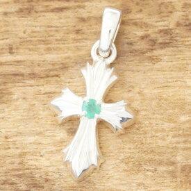 【あす楽】クロス ネックレス メンズシルバー 925 エメラルドシンプル 十字架 ペンダントTJK SD181L/em【ギフト包装】
