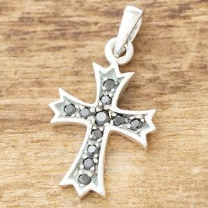 【あす楽】クロス ネックレス メンズ レディースシルバー 925 ブラック キュービックジルコニアシンプル 十字架 ペンダントペアネックレス プレゼントファッション ブランド おしゃれTJK SD19