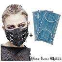 【ゴスロリワールド】Devil ゴスロリ スパイクビッグ合皮 おしゃれ マスク (使い捨てマスク3枚付)シルバー ブラック 黒色 ゴシック …